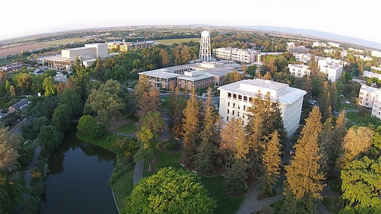 Aerial shot of UC Davis campus.